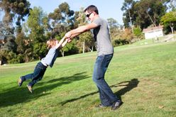 Dad son in park