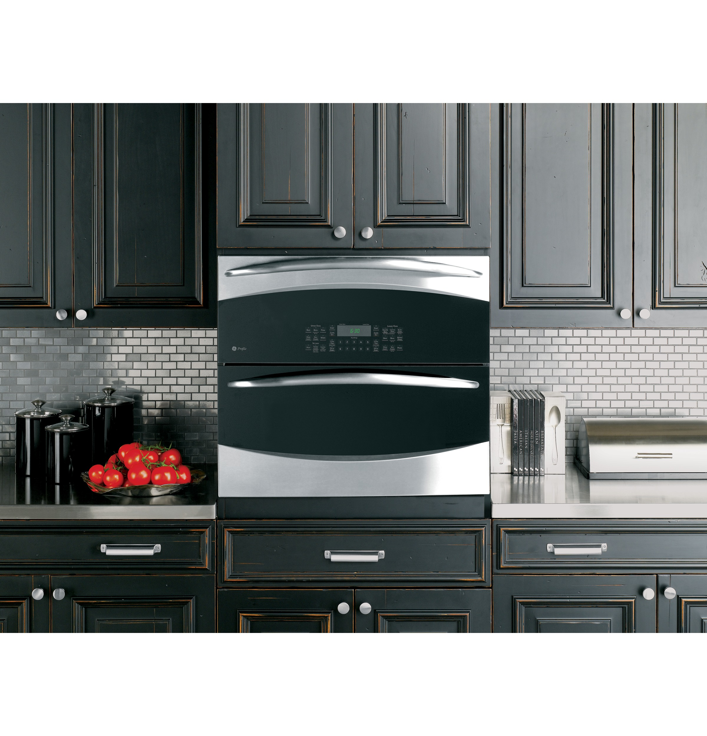 Ge cooks up double oven versatility in one small space for Small built in microwave oven