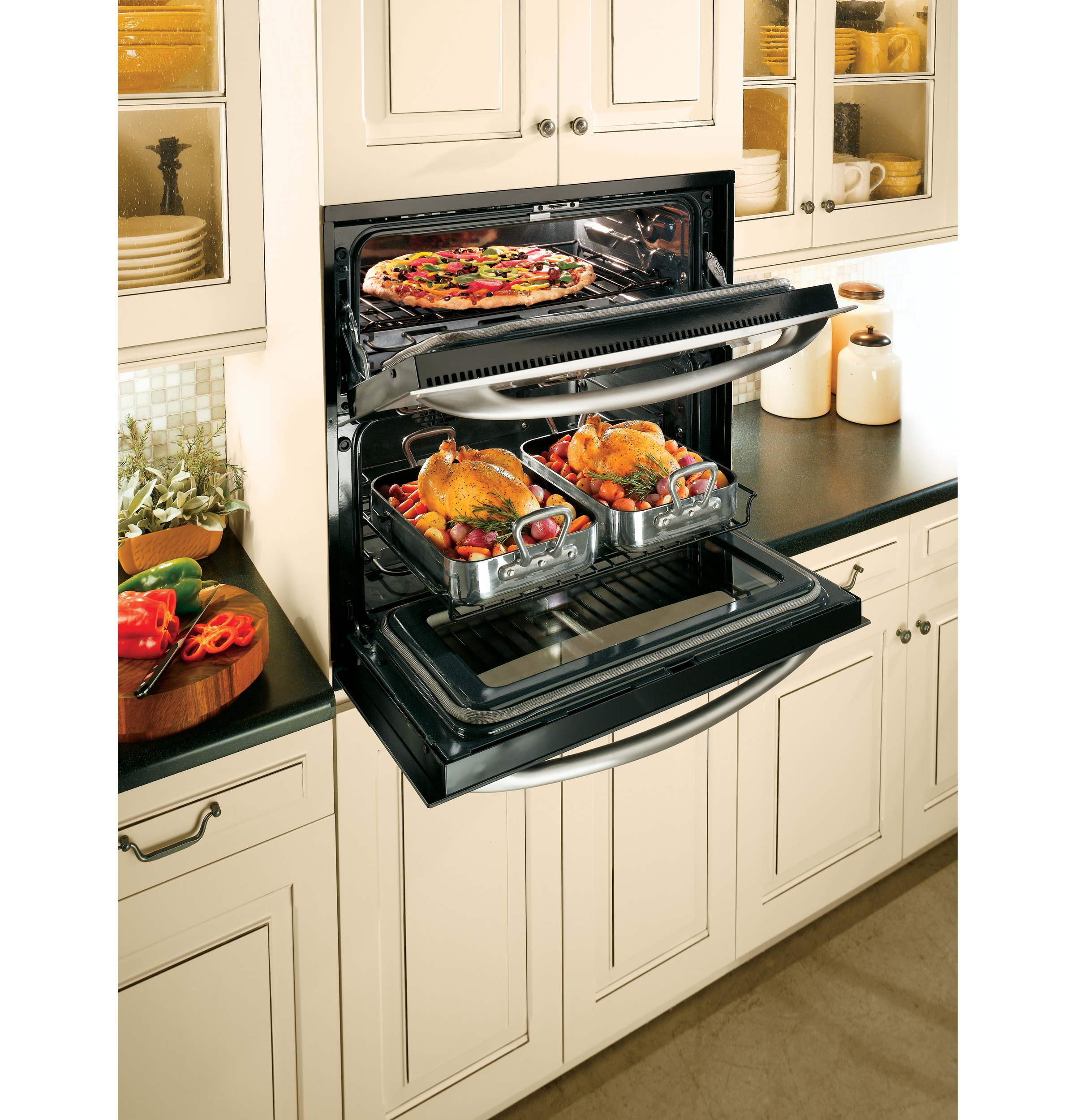 ge cooks up double oven versatility in one small space ge
