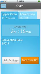 Wi-Fi enabled wall oven range app