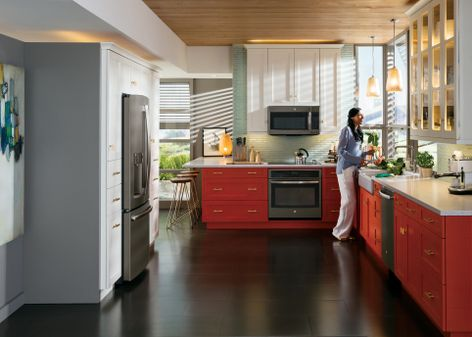 No Matter the Color Scheme GEs Slate Finish Appliances Blend and