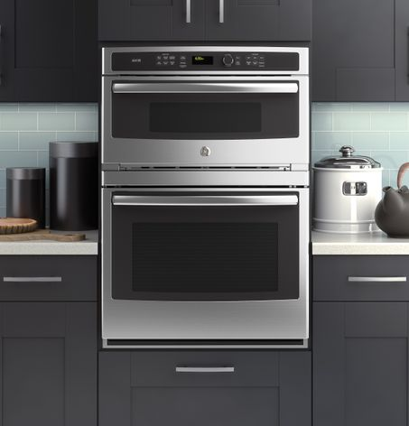 Ge modernizes the microwave wall oven combination with its for Wall oven microwave combo cabinet