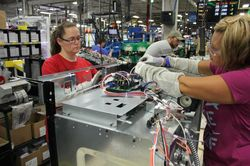 Rose Harris and Rachel Bowling, employees Roper Corporation plant in LaFayette, Ga.
