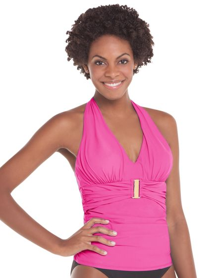 Belted Beauty Halter Tankini Top in Paradise Pink