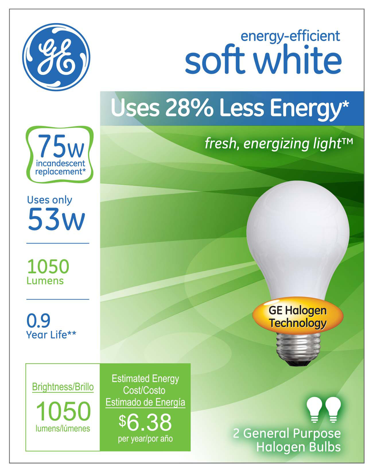GEs Energy Efficient Soft White Halogen Light Bulb Offers Big