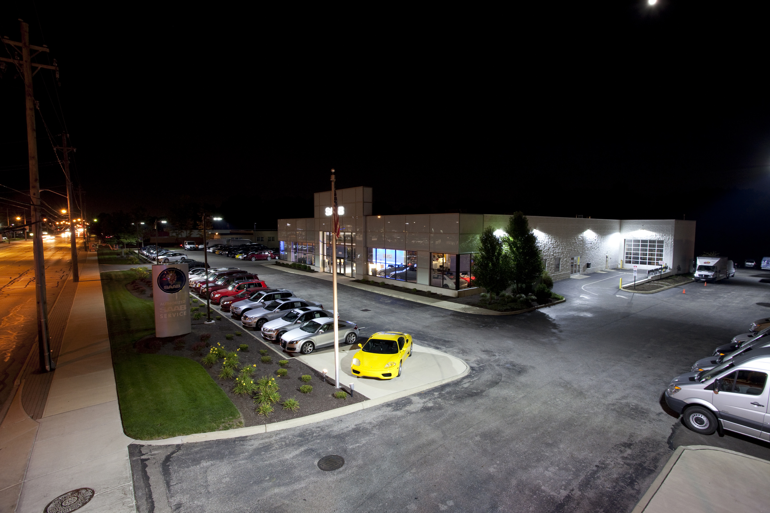 Auto dealer group trades in old lighting for 400 000 in for Led yard lights
