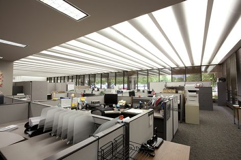 Ge outdoor and office lighting solutions will save metlife for Office interior solutions