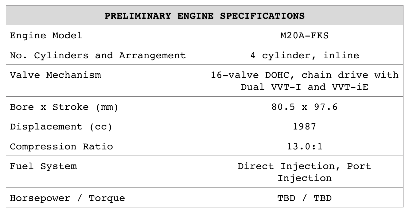 Preliminary Engine Specifications