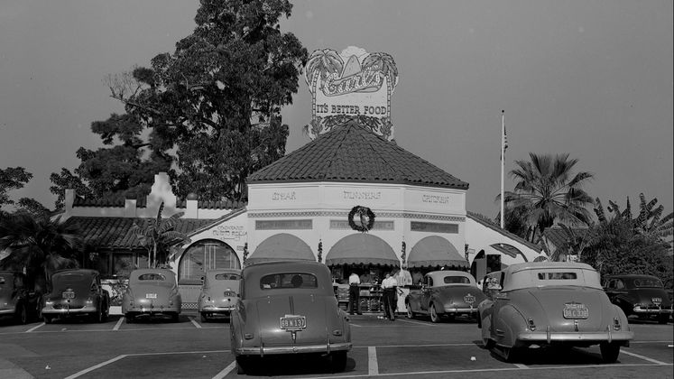Carl's drive in restaurant on Figueroa and Flower Street in Los Angeles