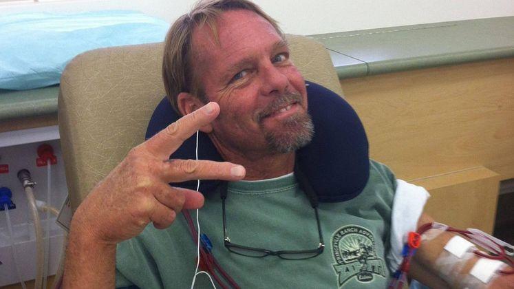 Tony Bollin during dialysis