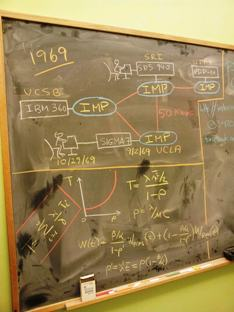 A blackboard shows the strategy UCLA computer scientists laid out in 1969 for sending the first-ever message across the Internet.
