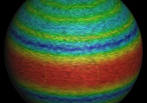This image shows results from a computer simulation of Jupiter's winds. The color contours show wind speed with red representing eastward flows and blue representing westward flows.