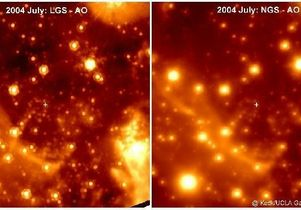 The center of our Milky Way galaxy, as seen in the infrared using the Keck Laser Guide Star (left panel) and the Keck Natural Guide Star (right). The white cross marks the location of the supermassive black hole.
