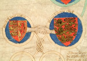 Detail of hand-clasp symbolizing the union of the Saxon and Norman houses from MS 53, a parchment roll containing the genealogy of the kings of England, late 14th century
