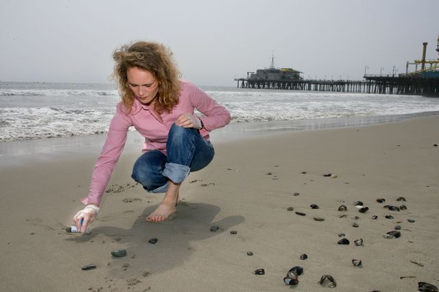 UCLA Engineering professor Jennifer Jay takes sand samples in Santa Monica, Calif.