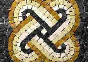 Mosaic image of King Solomon's knot. UCLA chemists have made, at the nanoscale, molecular interlocked rings in the shape of the knot, a symbol of wisdom.