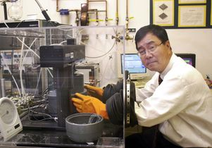 UCLA Engineering professor Kang Wang in his lab.