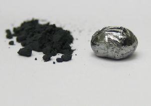 "UCLA scientists have made rhenium diboride, an ""ultra-hard material.""  Rhenium diboride is seen here in powder form (left), made from heating the elements in a furnace, and as a pellet made by a procedure called arc melting."