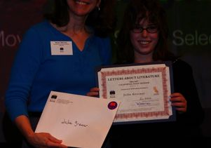 "Mary Menzel, director of the California Center for the Book, with state ""Letters About Literature"" winner Julie Greiner."