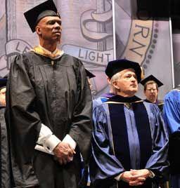 Kareem Abdul-Jabbar and Chancellor Gene D. Block on stage at Royce Hall