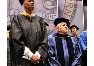 Kareem Abdul-Jabbar and Chancellor Gene D. Block on stage at Royce Hall