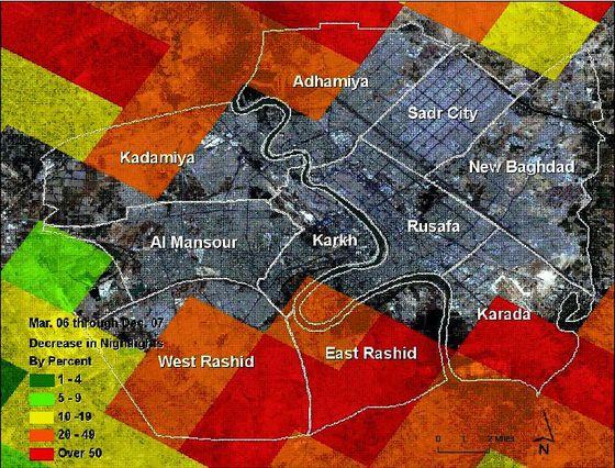 Satellite image of night lights in Baghdad