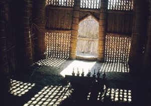 Interior of a mudhif, a structure made of woven reeds