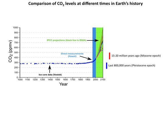 This chart shows carbon dioxide levels for different times in Earth's history.