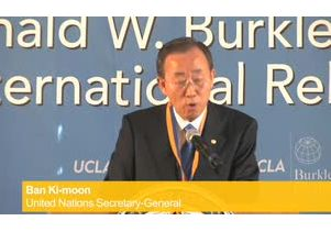 UN Secretary-General Ban Ki-moon talks about climate change at UCLA