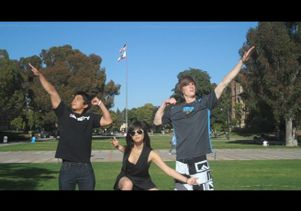 """Chemistry Jock"" students Justin Banaga, Kimberly Bui and Yannick Goeb (left to right)"