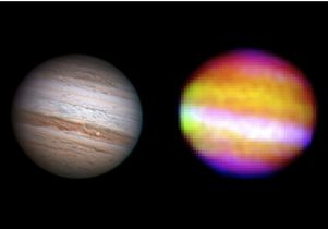 Right: SOFIA's infrared image of Jupiter