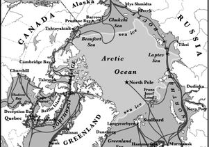 Arctic summer shipping lanes