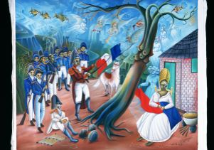 """Dessalines Ripping the White From the Flag"""