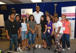 Kobe Bryant and students