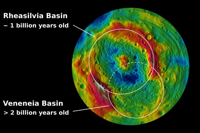This colorized map from NASA's Dawn mission shows the distribution of minerals across the surface of Vesta.