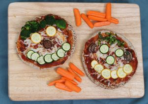 Whole weat pita pizzas (recipe from 'Eat Your Vegetables)