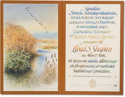 Lloyd Shapley Nobel diploma