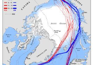 Currently available shipping lanes through the Arctic in September