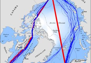 Projected shipping lanes through the Arctic for 2040-59