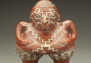 Polychrome female ceramic figure, 400-100 BCE
