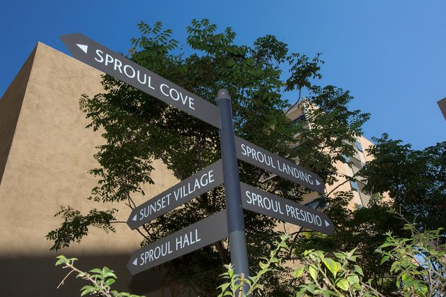 Sproul signage on The Hill