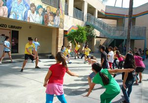 Exercising at Leo Politi Elementary