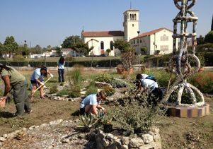 Gardening at Watts Towers