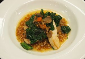 Chicken, wheatberry and kale in mushroom broth