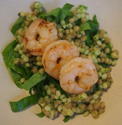 Green cous cous with shrimp, sorrel, and kale pesto
