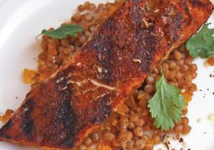 Morrocan salmon on cous cous