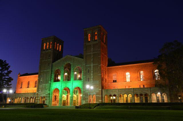UCLA's Royce Hall turns green. Todd Cheney/UCLA Photography