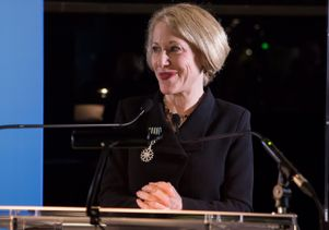 Marla C. Berns decorated as a chevalier of France's Order of Arts and Letters