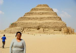 Egypt - Sandra Garcia at a pyramid