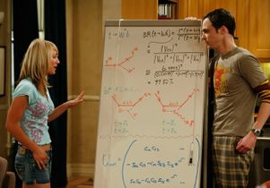 courtesy Warner Bros. - Characters Penny and Sheldon in front of Saltzberg s first white board about quark decay